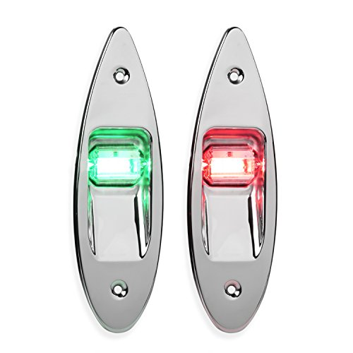 LEANINGTECH One Pair Marine Boat Yacht Light 12V Stainless Steel, Waterproof, LED Bow Navigation Lights Pontoons Sailing Signal Lights,Teardrop Bow Lights, Red and Green (Boat Lights Running)