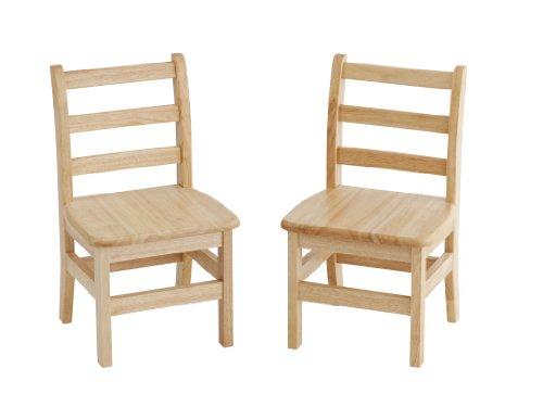 ECR4Kids 12'' Hardwood 3-Rung Ladderback Chair, Natural (2-Pack) by ECR4Kids