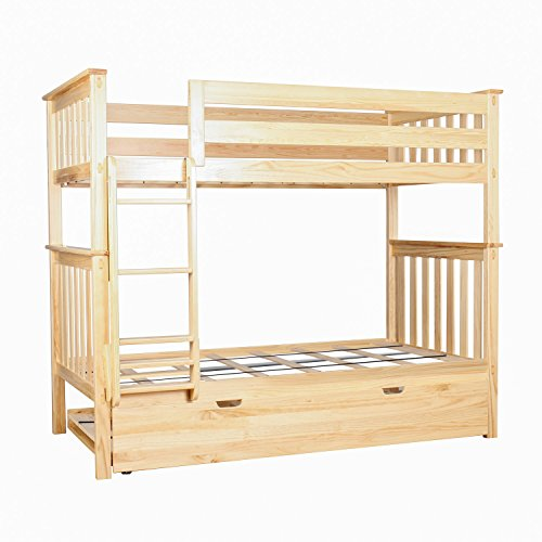 Max & Lily Solid Wood Twin over Twin Bunk Bed with Trundle Bed, ()