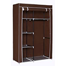 """Homebi Portable Wardrobe Clothes Closet Organizer Non-woven Fabric Storage Rack Unit with Six Shelves and One Hanging Rod in Brown,41.14""""W x 18.0"""" D x 62.2""""H"""