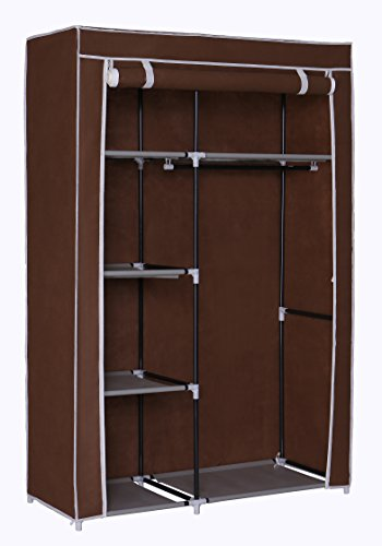 "Homebi Portable Wardrobe Clothes Closet Organizer Non-woven Fabric Storage Rack Unit with Six Shelves and One Hanging Rod in Brown,41.14""W x 18.0"" D x 62.2""H"