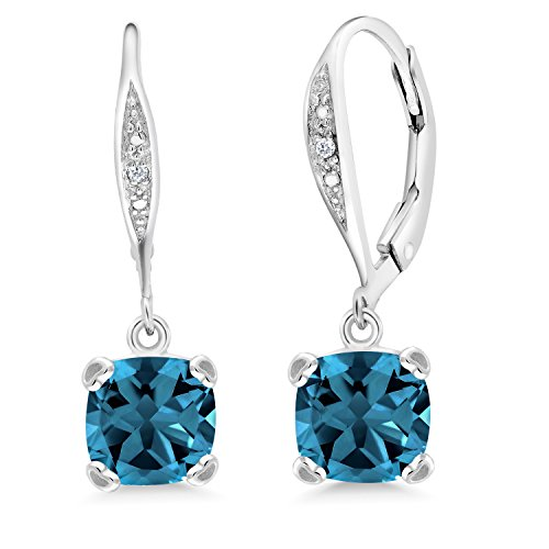 Gem Stone King London Blue Topaz and White Diamond 925 Sterling Silver Earrings 3.71 Ct Cushion Cut 7MM