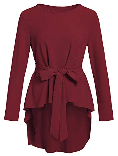 Romwe Women's Solid Long Sleeve Elegant Party Belted Ruffle Peplum Blouse Shirts Top Burgundy S