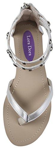 correa de con mujer para de gladiador Plata Lora correa diamante triple Sandalias de Dora tobillo CafqHx