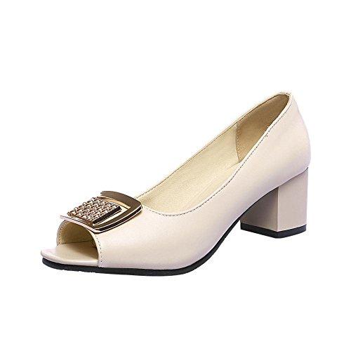 MissSaSa Damen Chunky heel Peep-toe Low-cut Pumps mit Strass und Metall Schmuck beuqem Blockabsatz vierkant Spitze Kleidschuhe Beige