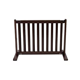Dynamic Accents Indoor Free Standing Pet Gate / Safety Barrier - Small / Mahogany