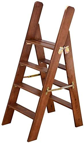 FCXBQ Taburete Escalera Plegable de Madera Maciza 4 peldaños, Biblioteca doméstica Escalera multifunción/Silla de Escalera/Taburete Alto: Amazon.es: Hogar
