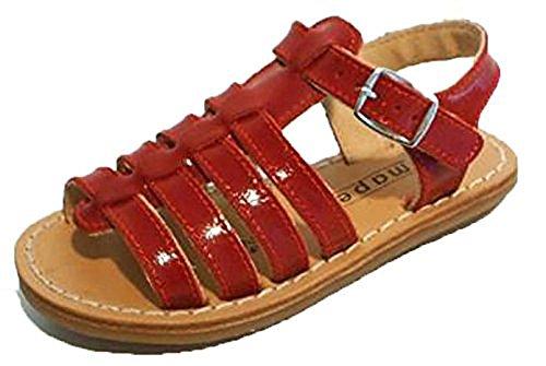 Französische Minibel Lackleder Leder Sandalen Römer Style rot