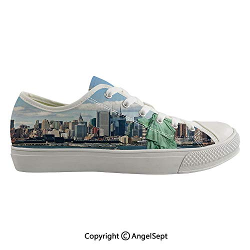Durable Anti-Slip Sole Washable Canvas Shoes 16.92inch Statue of Liberty in NYC Harbor Urban City Print Famous Cultural Landmark Picture,Mint Blue Flexible and Soft Nice Gift