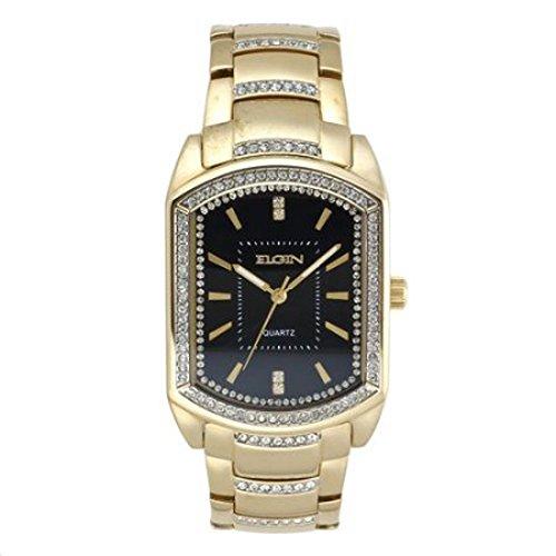 Elgin Crystal Watch (Elgin Mens Gold-Tone & Crystal-Accent Rectangular Watch FG8079)