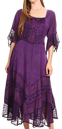 (Sakkas 15224 - Bexley Scoop Neck Bell Sleeve Bohemian Gypsy Embroidered Corset Dress - Purple -)