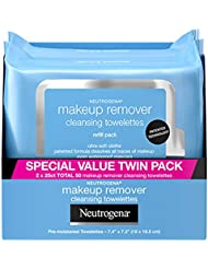 Neutrogena Makeup Remover Cleansing Towelettes, Daily Cleansing Face Wipes to Remove Waterproof Makeup and Mascara, Alcohol-Free, Value Twin Pack, 25 count, 2 Pack