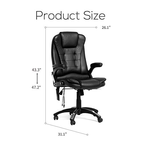 Mecor Heated Office Massage High-Back PU Leather Computer Chair w/360 Degree Adjustable Height & Armrest (Black) by Mecor (Image #6)