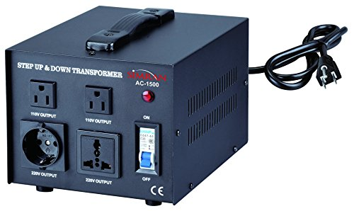 Simran Voltage Transformer, 1500 Watt, Step Up and Down, 110 Volt, 220 Volt Power Converter, Black (ACN-1500) by Simran (Image #1)