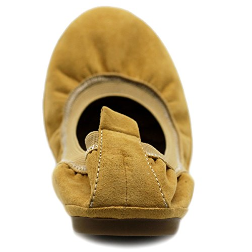 Ollio Chaussures Femme Faux Daim Confort Ballet Plat H.mustard