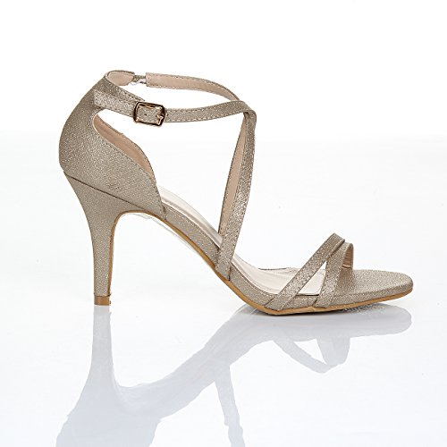 SC - sandalias para mujer mujer dorado