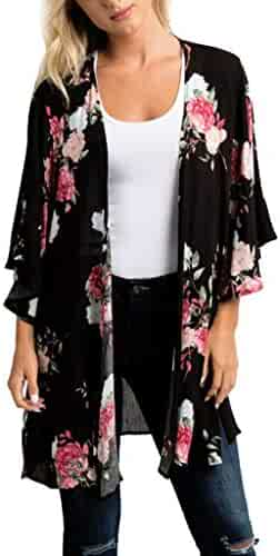 iSkylie Womens Blouse Chiffon Shawl Printed Kimono Cardigan Top Cover Up Blouse Open Front Beachwear Coaches' & Referees' Gear Coaches' & Referees' Gear