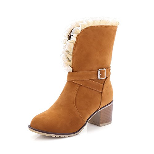 Women's Buckle Kitten Mid Heels Brown Round Toe AmoonyFashion Boots Closed Top Frosted x1ZBaZ6n