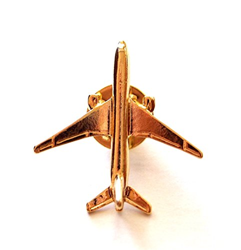 Gold Plated Boeing 777 Airplane Lapel Pin (Flash Rubber Wig)