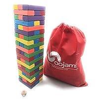 Oojami Wooden Toppling Tower Tumbling Stacking Stack Games Juegos de mesa para niños - 60 piezas