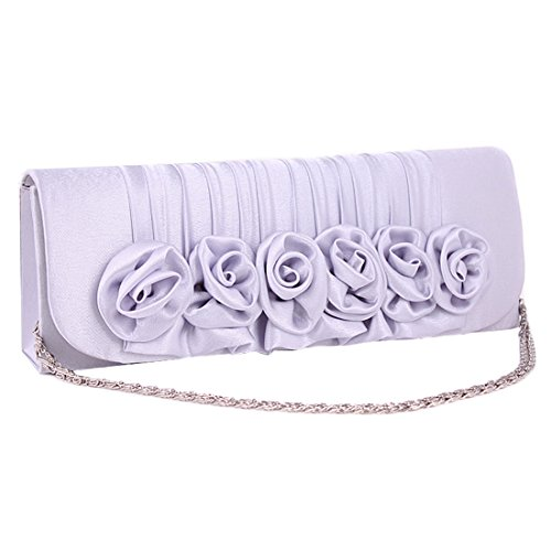 Hanging Handbag Flower with Strap Clutch Evening Bag Silver Grey for Bag Floral Purse Satin Women PqZUTxP