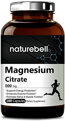 - Maximum Strength Magnesium Citrate 500mg,180 Capsules, Powerfully Supports Energy, Metabolism, Muscles, Heart & Bone Health. Non-GMO and Made in USA