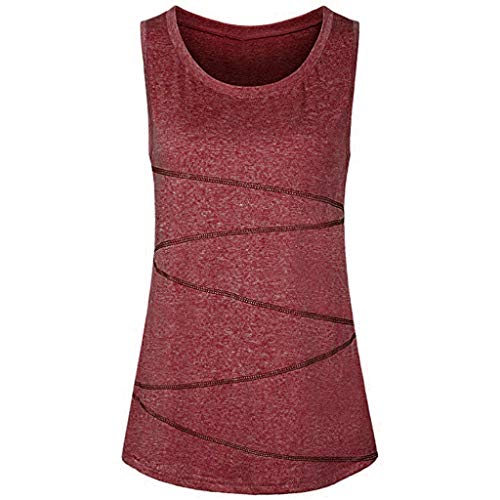 Xinantime Women Activewear Running Workouts Clothes Yoga Racerback Tank Tops Sleeveless Breathable Exercise Blouse (A-Red, XXL)