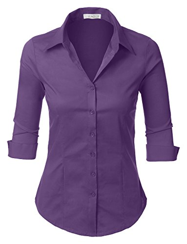 (LE3NO Womens 3/4-Sleeve Easy Care Shirt Purple)