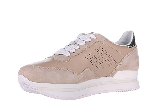 Hogan scarpe sneakers donna in pelle nuove h222 h forata beige