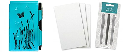 Wellspring Flip Note Notepad Set: Blue Butterfly Flip Note, 3 Flip Note Refill Pads and a 3 Mini Pen Refill
