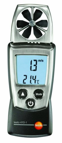 Testo 410-1 Digital Pocket Vane Anemometer, 0.4 to 20 m/s Velocity, -10 to Plus 50° C Temperature Testo AG 0560 4101