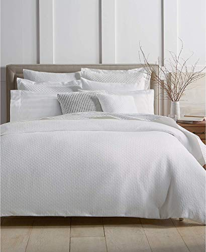 Charter Club Damask Designs Diamond Dot 300 Thread Count Cotton 3 Piece Full/Queen Duvet Cover Set White