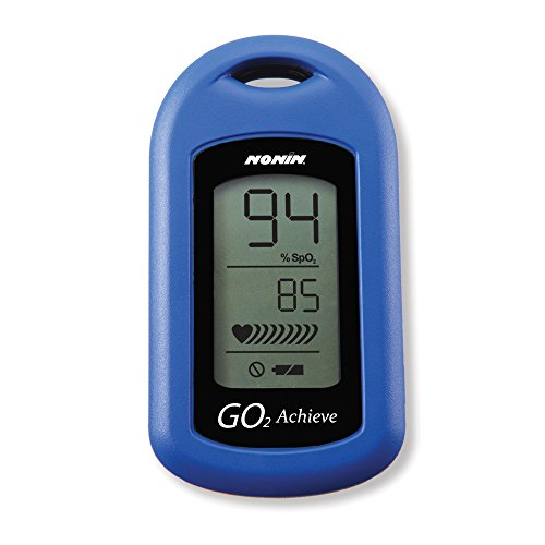 Nonin Medical GO2 Achieve Personal Fingertip Pulse Oximeter, Blue, Made in the USA with 2-year Warranty