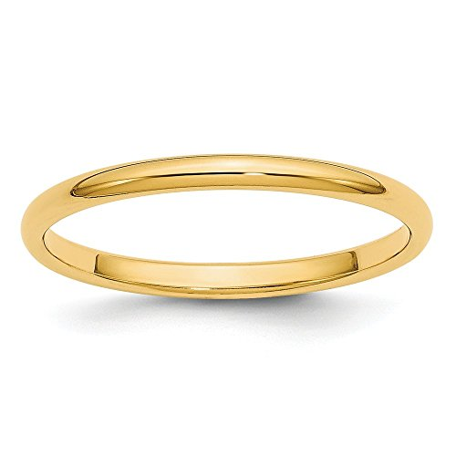 Jewel Tie Size 6.5 14k Yellow Gold 2mm Half-Round Wedding Band 2mm Half Round Band