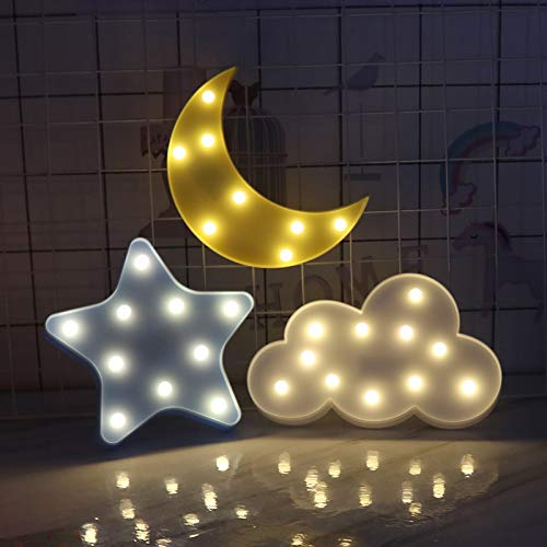 Wall Star Shelf - Pannow Cute Little Cloud 3D LED Night Light Baby Boys Girls Decorative Lamp for Valentine's Day,Birthday Party,Kids Room, Living Room,Wedding Party Christmas Decor (Star,Moon,Cloud)