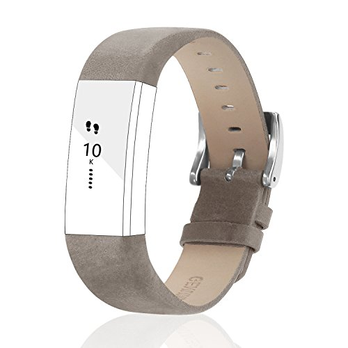 POY Replacement Bands Compatible for Fitbit Alta and Fitbit Alta HR, Genuine Leather Wristbands, Matte Gray
