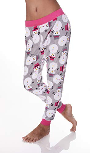 Sleep & Co. Womens Elastic Waist Snowman Plush Lounge Sleep Pajama Skinny Pants Light Grey Ash Small