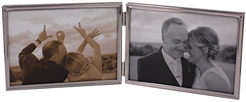 LEADEX Double Thin Edge Silver Plated Picture Frame,Horizontal Standing,5 by 7 Inch,Velvet Back Simple Classic Styling (Silver)