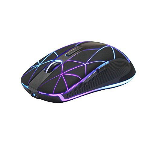 (Rii RM200 Wireless Mouse,2.4G Wireless Mouse 5 Buttons Rechargeable Mobile Optical Mouse with USB Nano Receiver,3 Adjustable DPI Levels,Colorful LED Lights for Notebook,PC,Computer-Black)