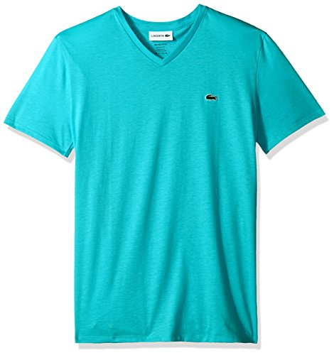 Lacoste Men's Short Sleeve V Neck Pima Jersey Shirt T-Shirt, TH6710, Atoll, (Lacoste T-shirt Short)