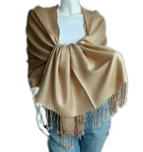 New Best Soft Pashmina/Shawl/Scarf/Wrap/Stole (camel) - Hand Knotted Camel