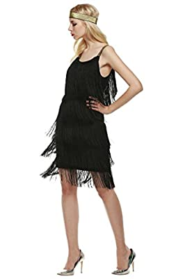 Asatr Women Sleeveless Strap Flapper Fringe Tassels Party Gown Costume Dance Dress