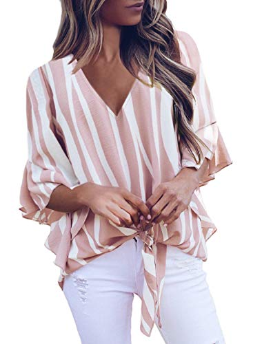 (FARYSAYS Women's Tops Summer Autumn Striped Ruffle Sleeve V Neck Tie Knot Casual Blouses Shirts Pink XX-Large)