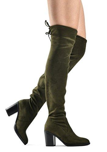 LUSTHAVE Frauen Haley Overknee Pull On Boot - Kordelzug Zurück Komfort Block Blockabsatz Spitze Runde Kappe Olivgrünes Wildleder