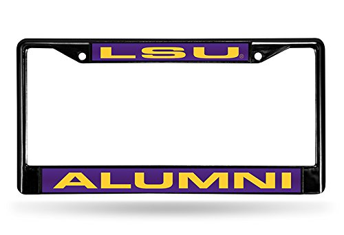 Rico Industries NCAA LSU Tigers Alumni Laser Cut Inlaid Standard Chrome License Plate Frame