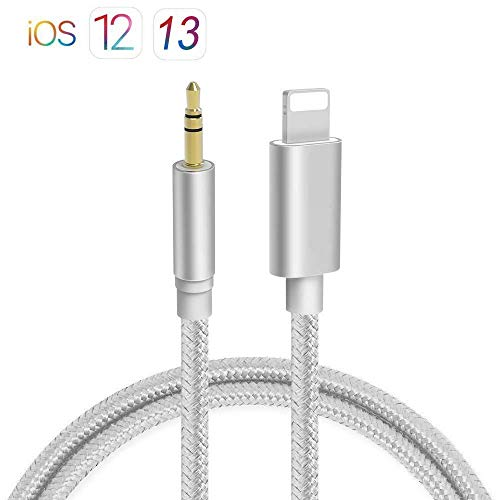 Aux Cable for Car, 3.5mm Audio Cable, Car Aux Cable for iPhone X/Xs/Xr / 8/7 / 6 / Plus 3.3ft 3.5mm Male Audio Adapter for Car Home Stereo &Headphone [Nylon Braided] – Silver