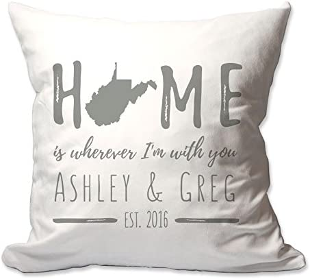 Pattern Pop Personalized West Virginia Home is Wherever I m with You Throw Pillow