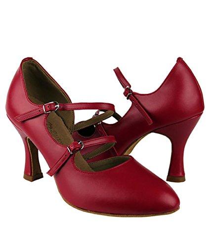 Zeer Fijne Ballroom Latin Tango Salsa Dansschoenen Voor Dames Pp201 3 Inch Hak + Opvouwbaar Borstelbundel Rood Leer