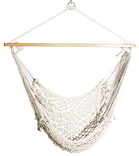 Hygge - Natural Cotton Rope Swing (Hammock Chair) Comes with Hardwood Spreader bar and Hanging Hardware. Suits a Single Adult. Perfect for Your Garden and Patio!