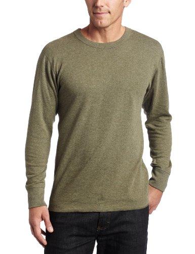 Fleece T-shirt Bib - Duofold Men's Midweight Long Sleeve Crew,Olive Heather,Medium